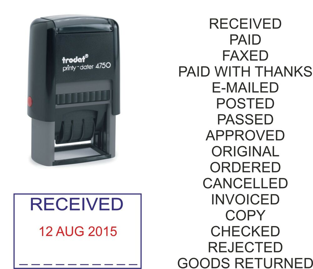 Date Stamp Paid Received Posted Faxed Checked Trodat
