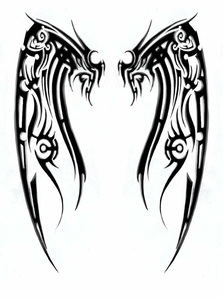tribal wings tattoo style a4 tshirt transfer angel wing ebay. Black Bedroom Furniture Sets. Home Design Ideas
