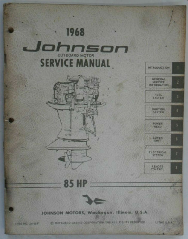 1968 johnson outboard motor service manual 85 hp ebay. Black Bedroom Furniture Sets. Home Design Ideas