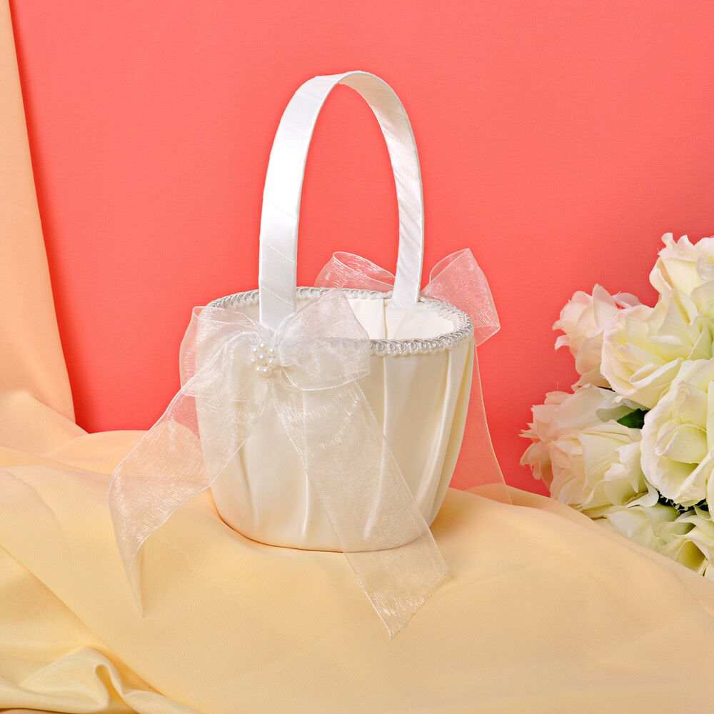 Flower Girl Baskets Ivory Uk : Gb d ivory bow flower wedding ceremony satin girl