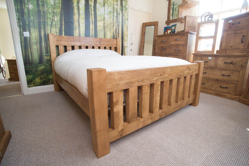New Solid Wood Kingsize Bed Rustic Chunky Plank Slat