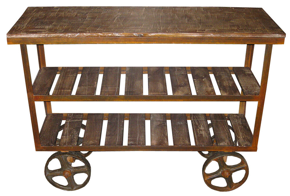 industrial console table iron wheels shelves shabby chic solid acacia wood new ebay. Black Bedroom Furniture Sets. Home Design Ideas