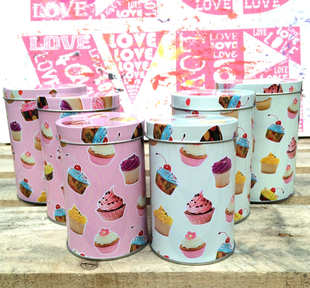 cupcake canisters for kitchen 3 x small cupcake canister set retro kitchen storage caddy tea coffee sugar tins ebay 9501