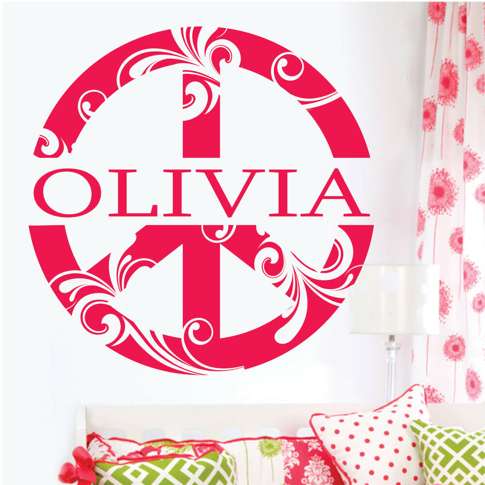 Peace Sign Bedroom Accessories: Peace Sign Flowers Custom NAME Vinyl Wall Decor Mural