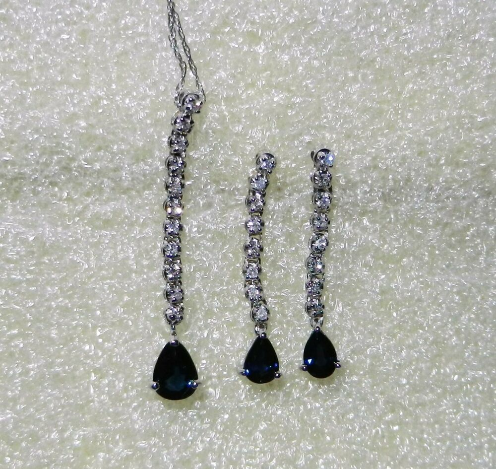 14k White Gold Vintage Sapphire Diamond Necklace And