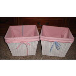CHILDREN'S WHITE BASKETS BLUE PINK REVERSIBLE LINERS