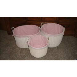 AWESOME LARGE BASKET CHILDREN'S PINK GINHAM WHITE LOT OF 3
