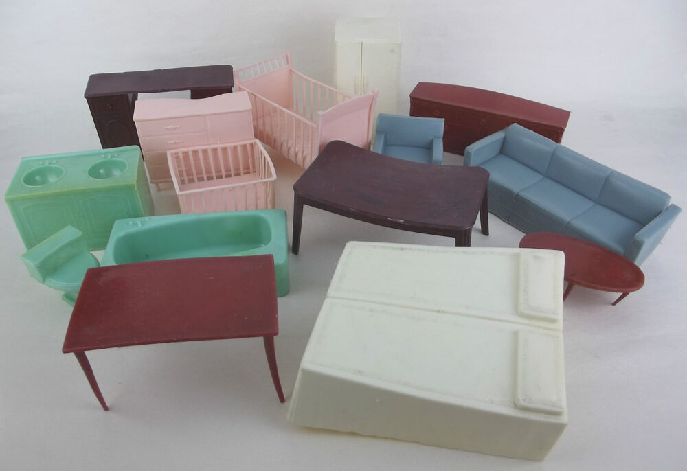 Dollhouse Miniature Lot 15 Pc Soft Plastic Furniture W Hong Kong Vintage Ebay