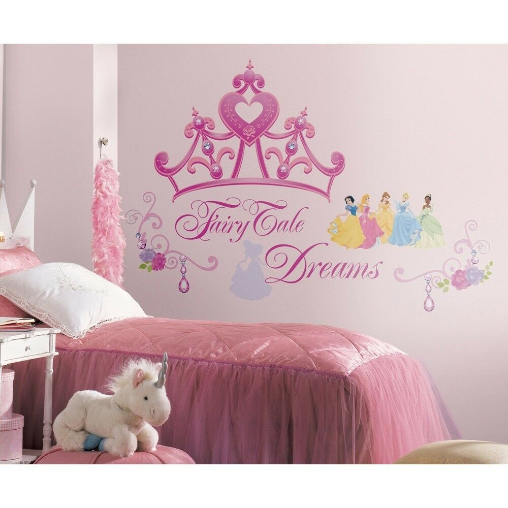 Disney princess crown 22 wall mural stickers girls pink for Disney princess wall mural stickers
