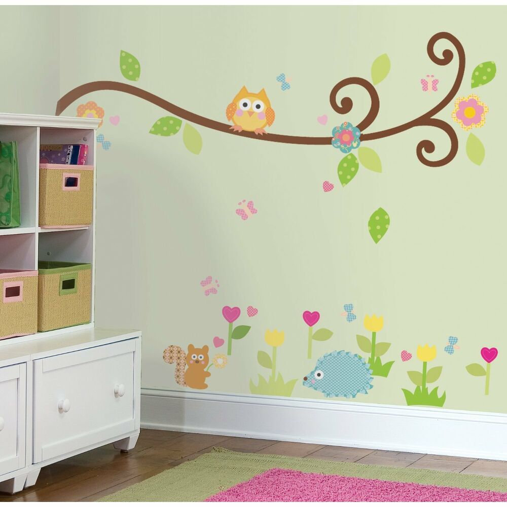 Scroll branch 65 big wall stickers tree flowers animal for Wall decals kids room