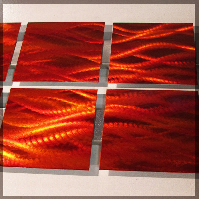 Modern abstract metal wall art red orange painting for Red modern decor