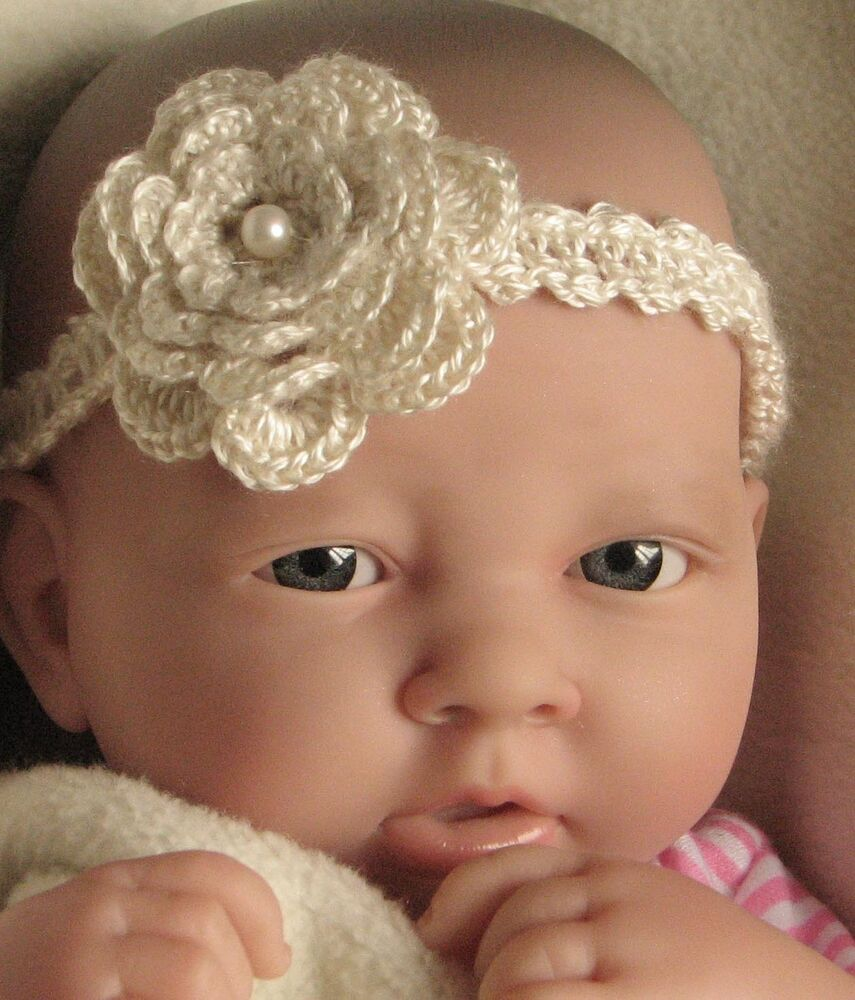 Crochet Headband Pattern Newborn : CROCHET PATTERN / INSTRUCTIONS: Baby Headband with flower ...