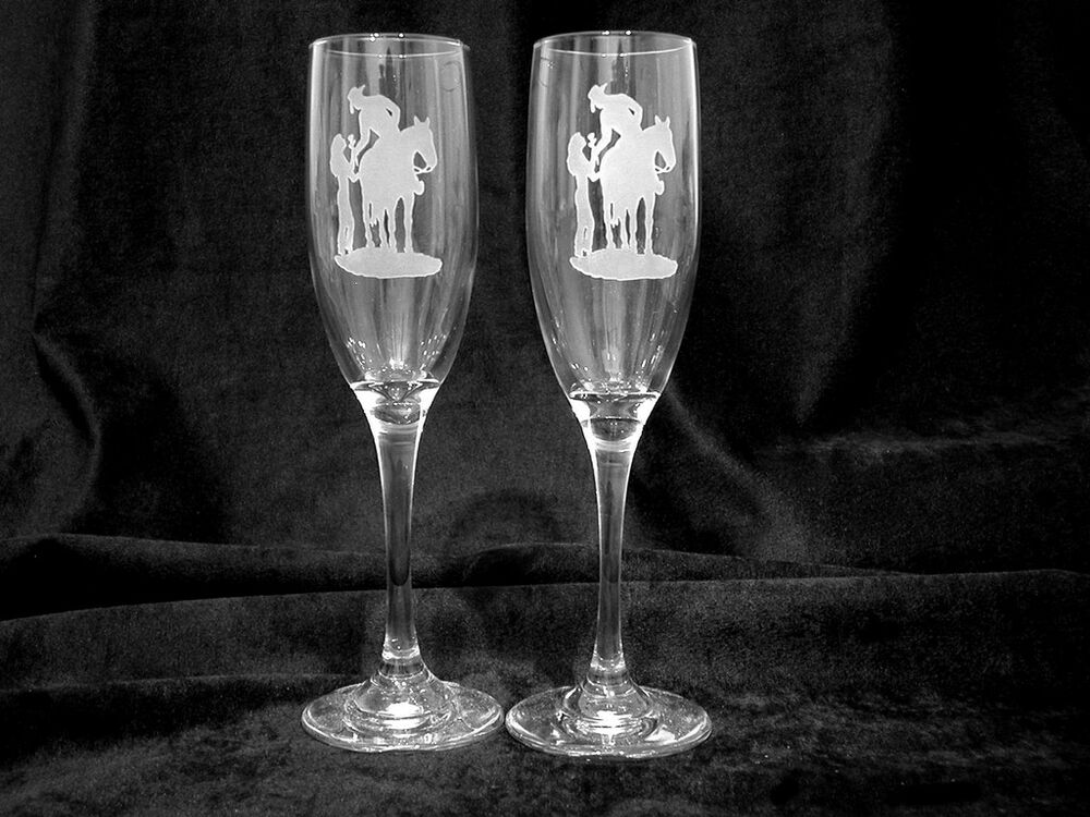 western theme personalized wedding toasting glasses ebay