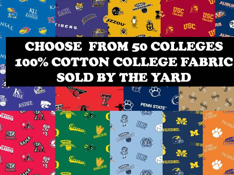 college cotton fabric university cotton fabric sold by the yard schools k o 45 ebay. Black Bedroom Furniture Sets. Home Design Ideas