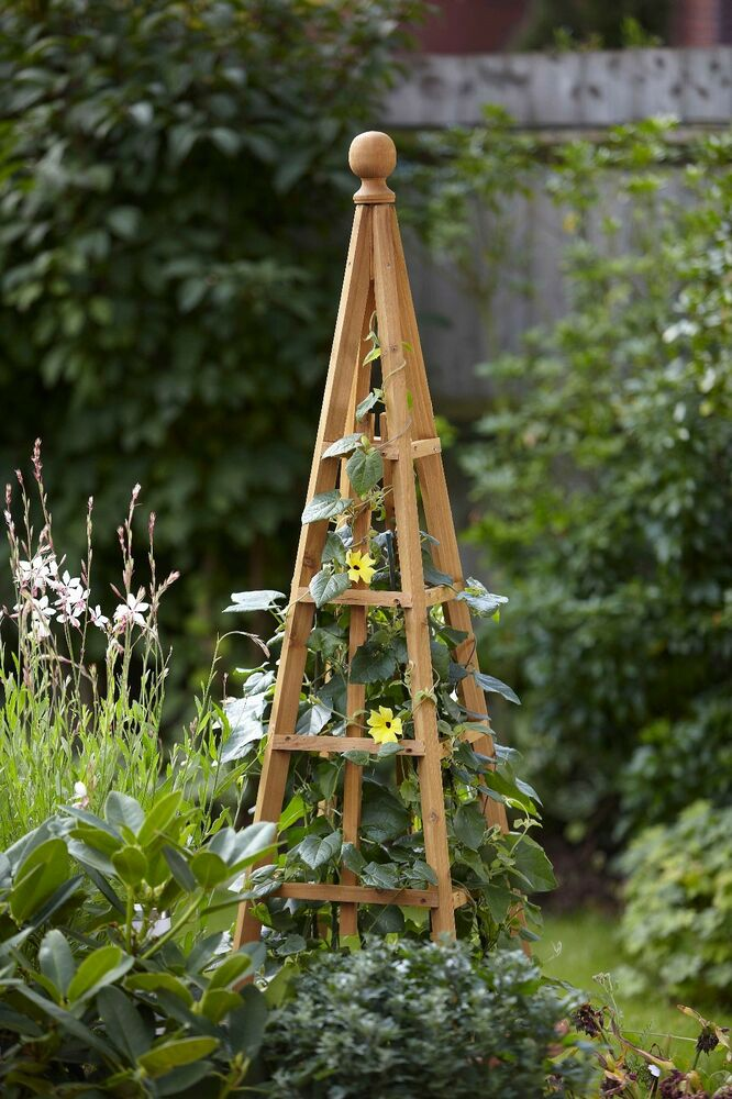 Greentree wooden garden obelisk plant support 12m ebay for Garden obelisk