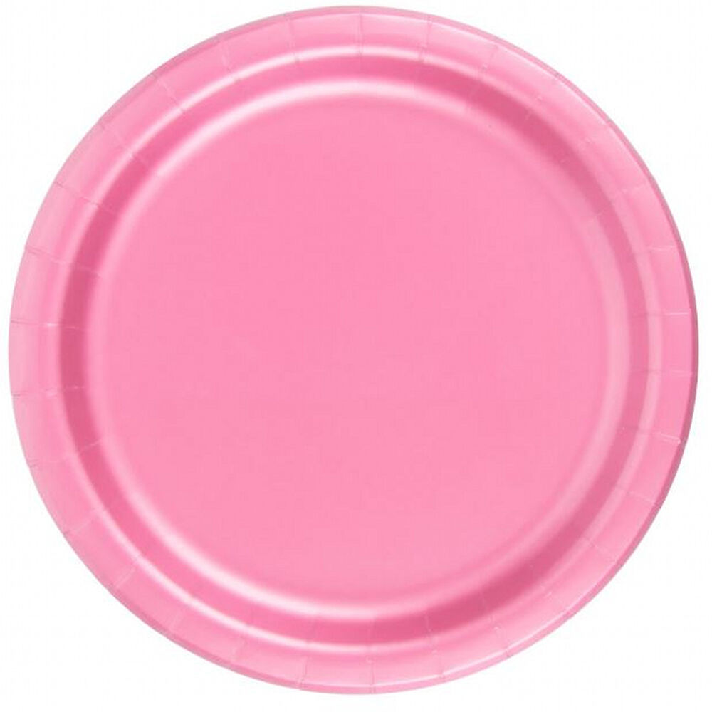 24 plates 6 7 8 paper dessert plates wax coated pink ebay. Black Bedroom Furniture Sets. Home Design Ideas