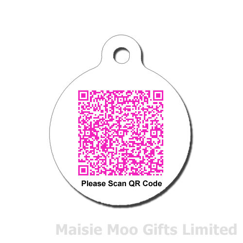 Personalised qr code metal pet dog cat tag pink for Qr code dog tag