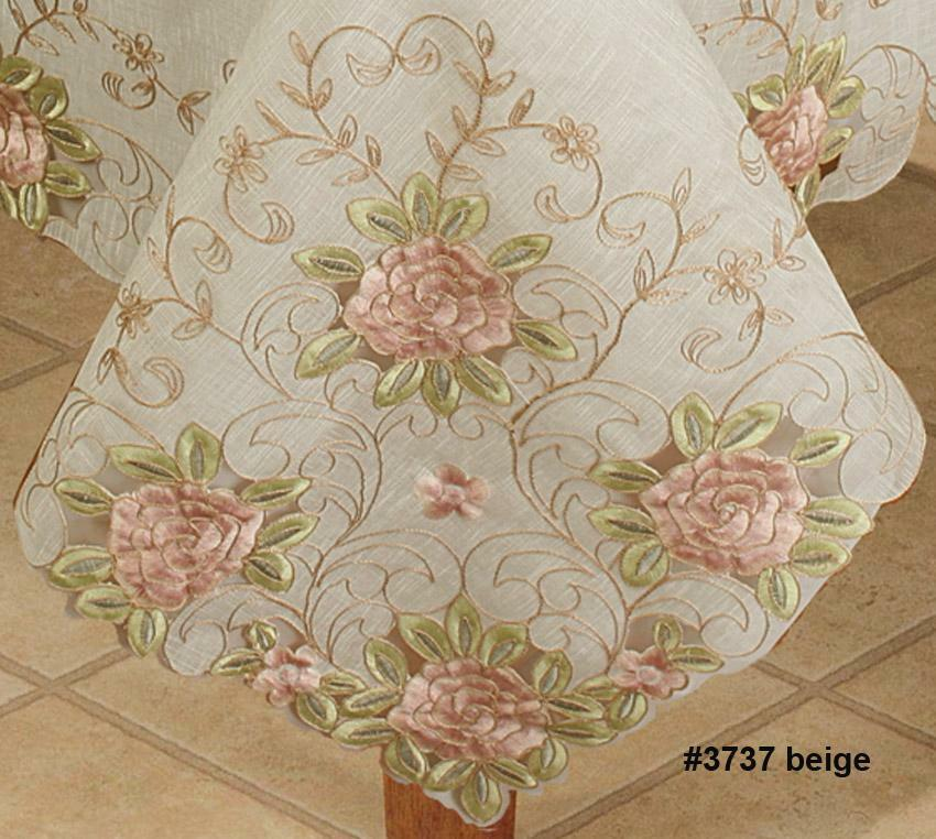 Spring Embroidered Pink Rose Floral Sheer Tablecloth With