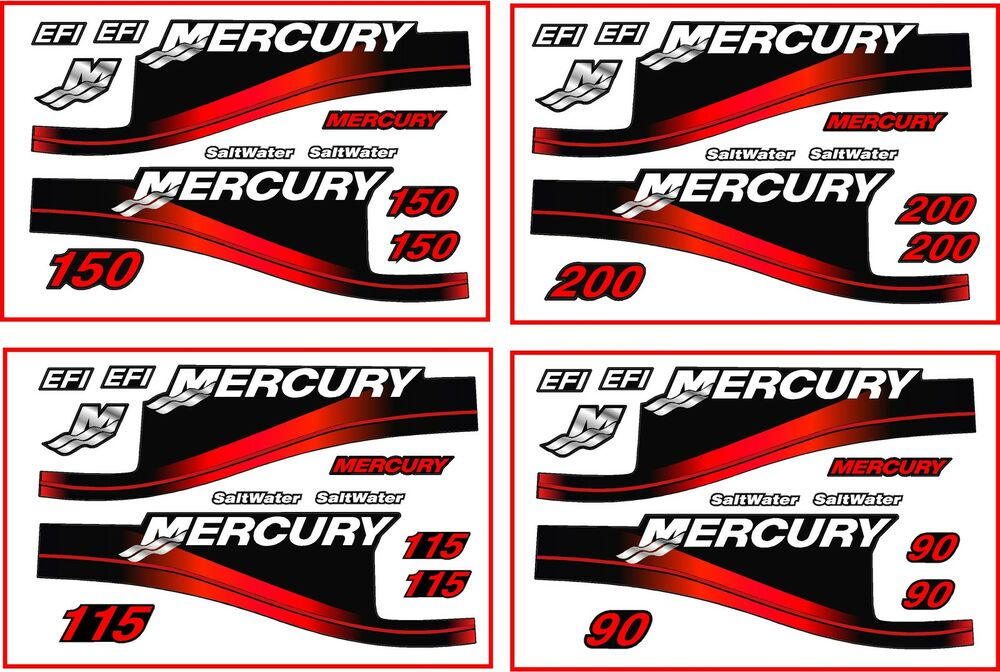 Mercury outboard 200hp 90 115 and 150 decal kit red for Custom outboard motor decals