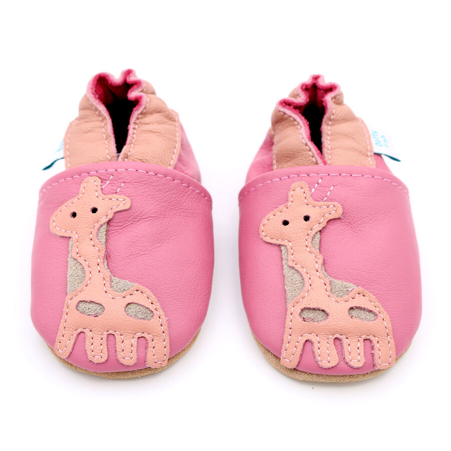 Dotty Fish Soft Leather Baby Girls Shoes Pink Giraffe