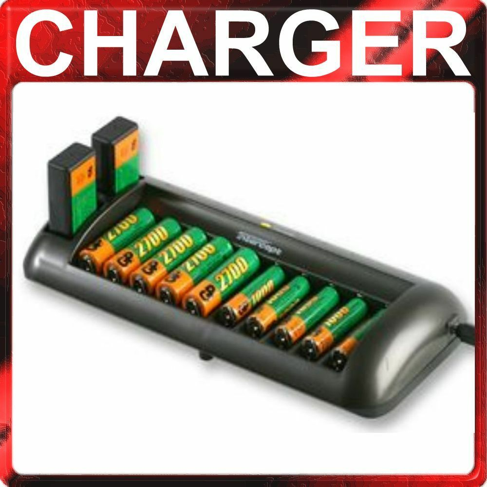 universal battery charger 10 aaa aa 2 x 9v rechargeable nimh nicd car adaptor ebay. Black Bedroom Furniture Sets. Home Design Ideas