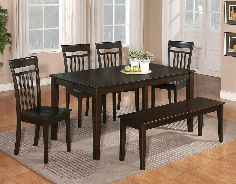 cheap dining room table and chair sets | 6 PC DINETTE KITCHEN DINING ROOM SET TABLE w/4 WOOD CHAIR ...