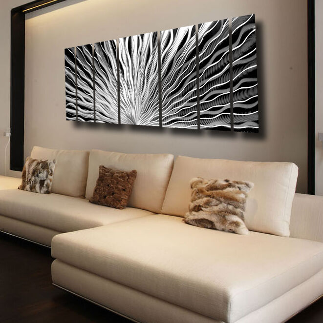 Large silver metal wall art panels modern abstract indoor Large wall art