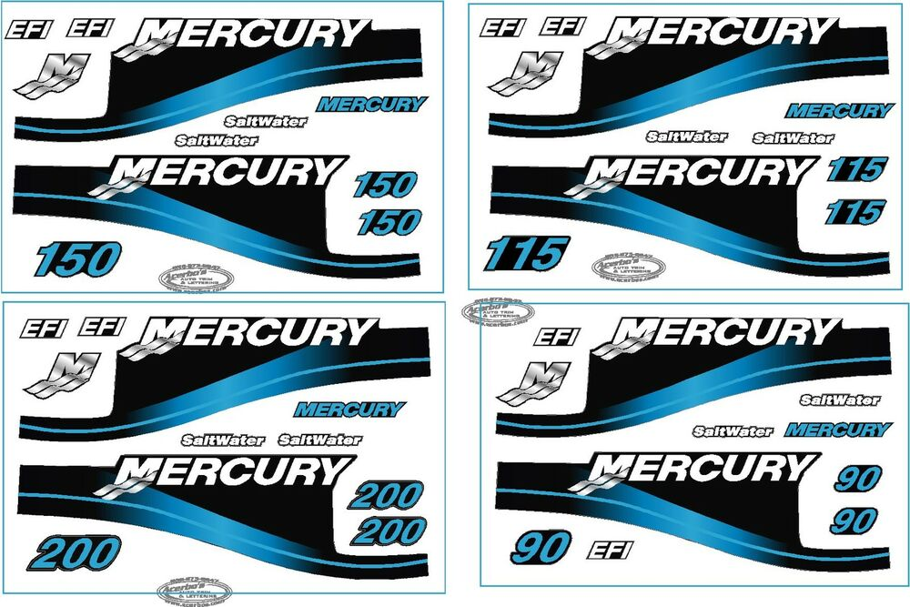 Mercury outboard motor blue 90 hp horse power decal kit for Custom outboard motor decals
