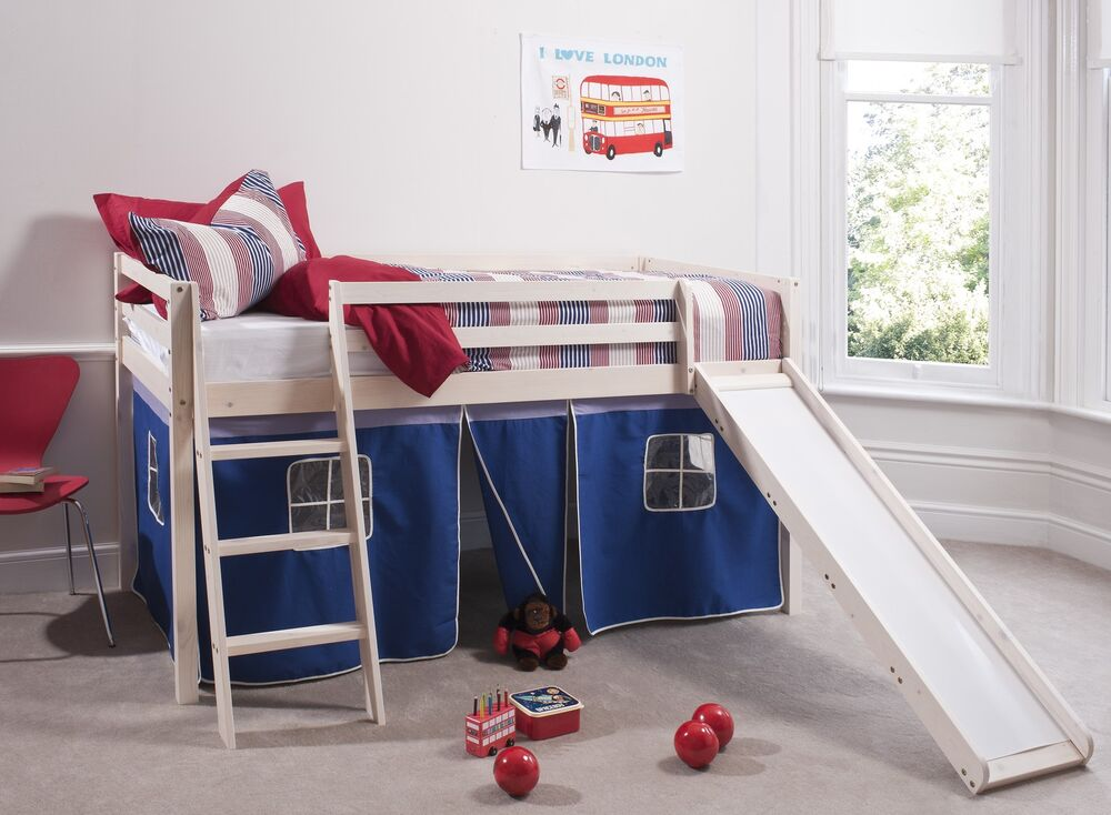 cabin bed white mid sleeper bunk with slide bluetent 6005