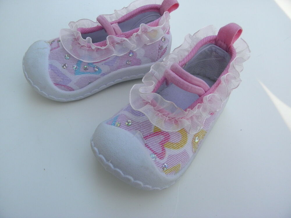 Infant Baby Girls Sequin & Hearts Pink SHOES Size 2 fits