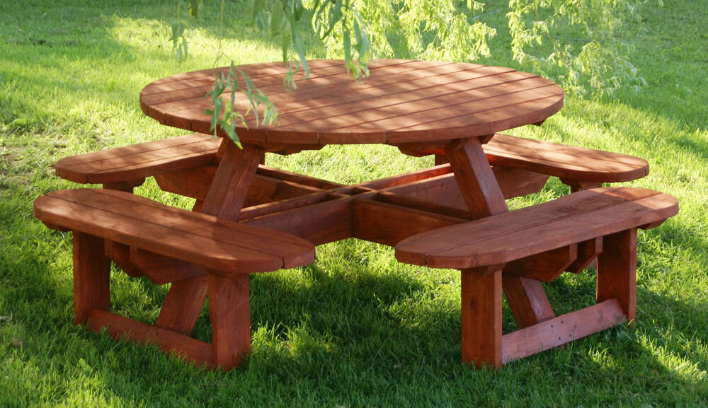 Plans to build beautiful round picnic table for 8 patio for Table design outdoor
