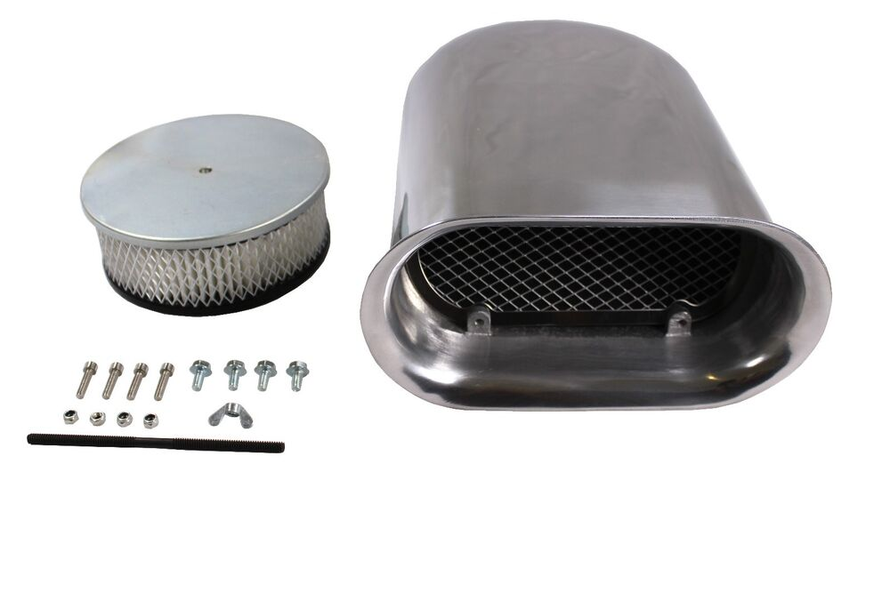 Aluminum Air Scoops : New polished aluminum quot hilborn style smooth hood scoop