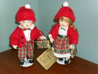 Pair of Seymour Mann Porcelain CHRISTMAS DOLLS Maggie & Michael
