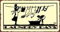 Laundry Days Clothesline Vintage Metal Art Laundry Cleaning Retro Tin Sign
