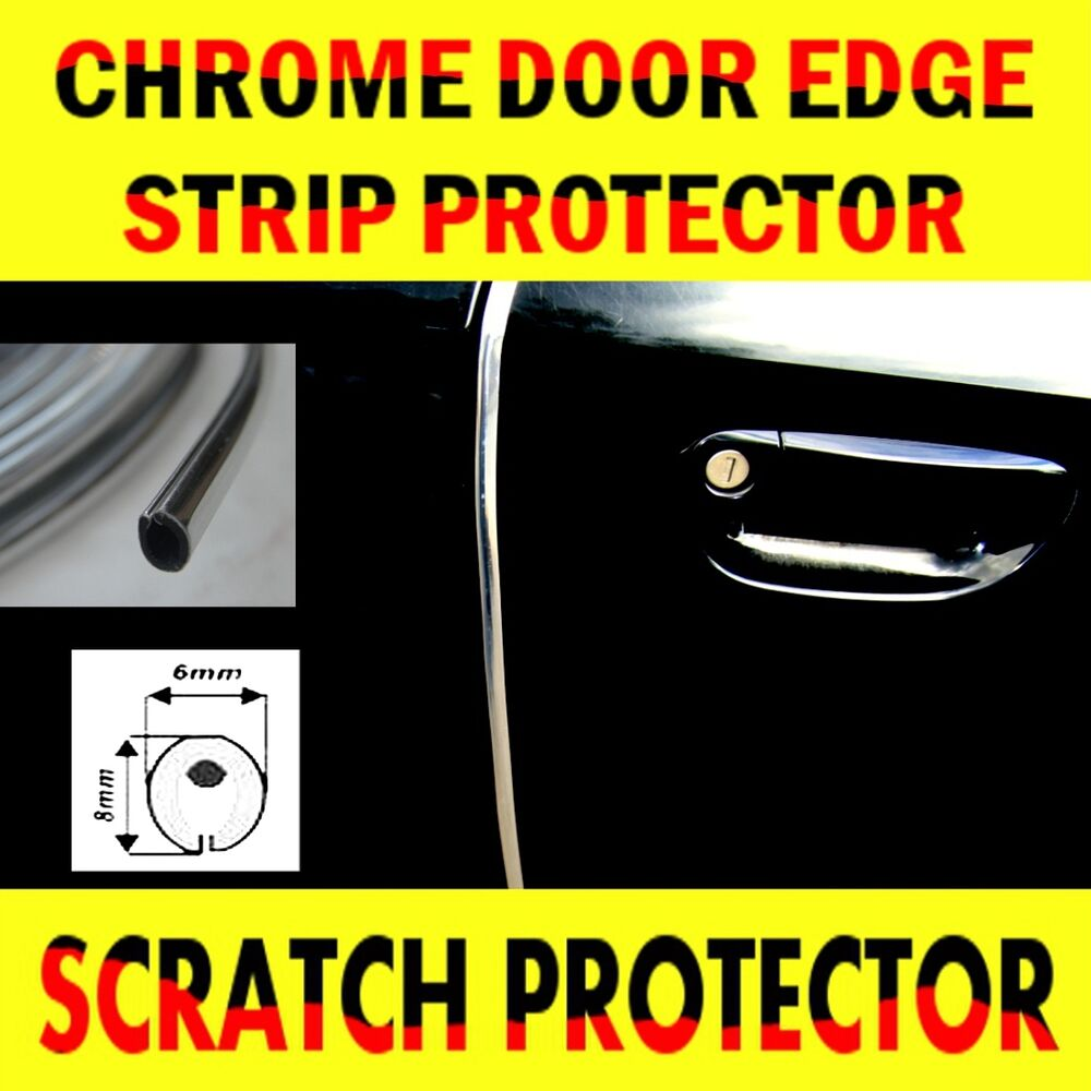 Chrome car door edge guard protector moulding trim 6 for Door edge trim