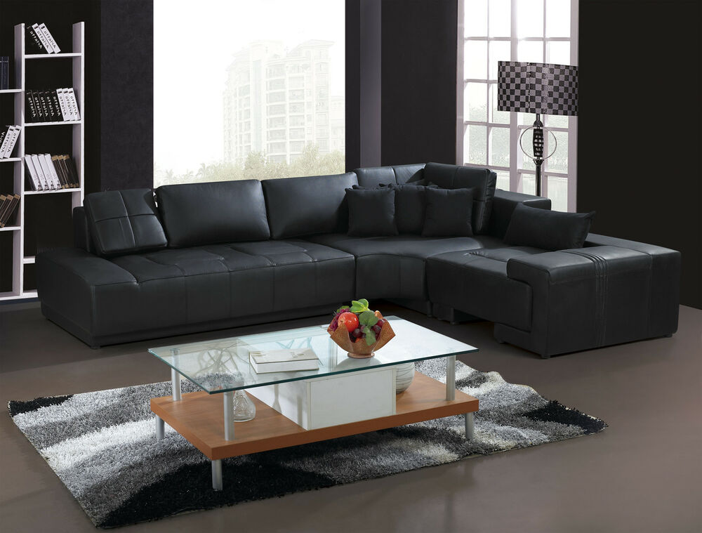 Franco Collection Modern L Shaped Leather Sofa Couch Black