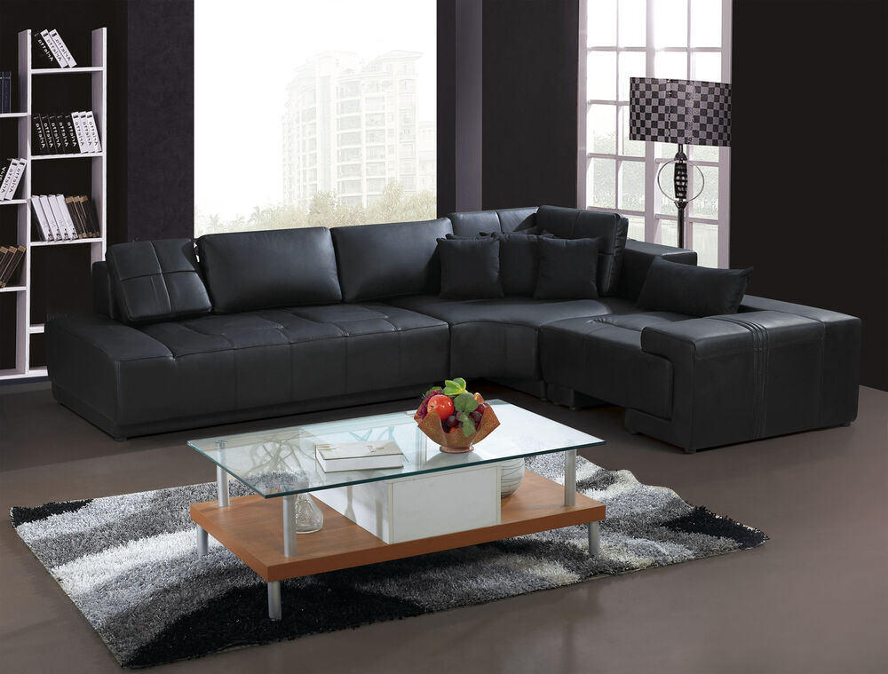 franco collection modern l shaped leather sofa couch black or white with pillows ebay. Black Bedroom Furniture Sets. Home Design Ideas