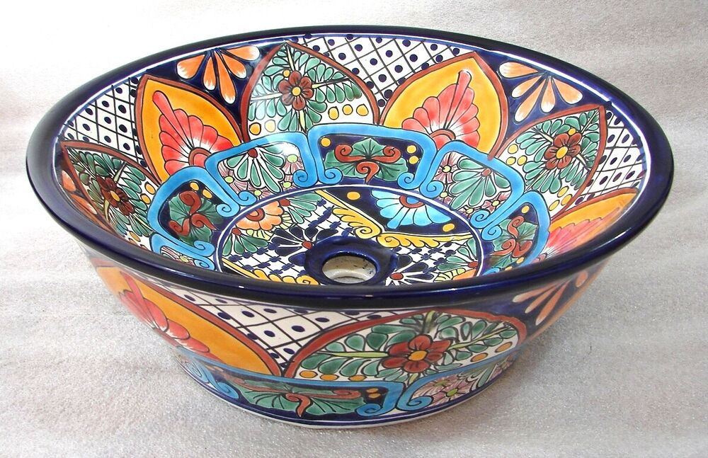 mexican bathroom sink mexican talavera ceramic bathroom sink vessel top counter 13640