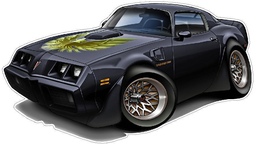 Window Decals For Cars >> 1979 Pontiac T/A Trans Am Muscle Car Cartoon Wall Graphic ...