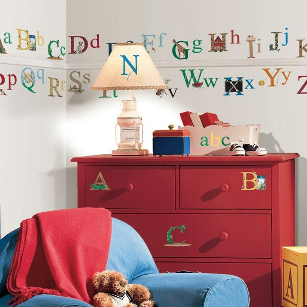 Set of new alphabet wall stickers kids bedroom toy room for Wall decals kids room