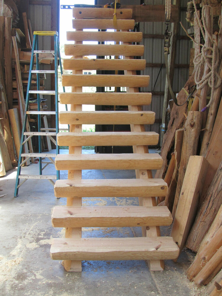 Half log straight run staircase stairway 150 per stair for Half spiral staircase