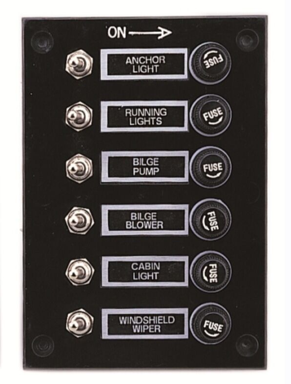 marine 6 gang fuse switch panel 12v black boat yacht. Black Bedroom Furniture Sets. Home Design Ideas
