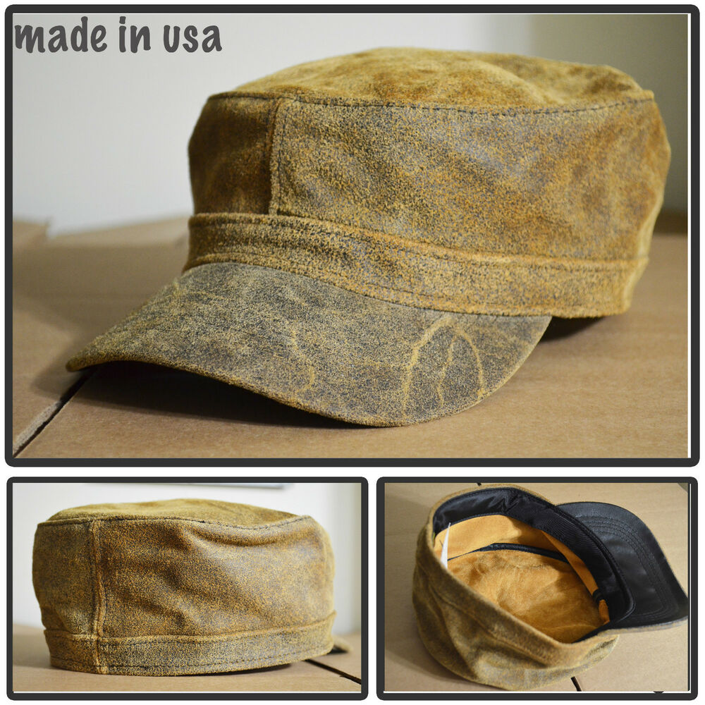 100 distress leather army cadet baseball cap hat