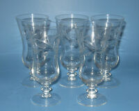 Price Crystal Parfait Glasses Set 5 Cut Glass Vine Leaves Buds Wafer Stem PCZ1