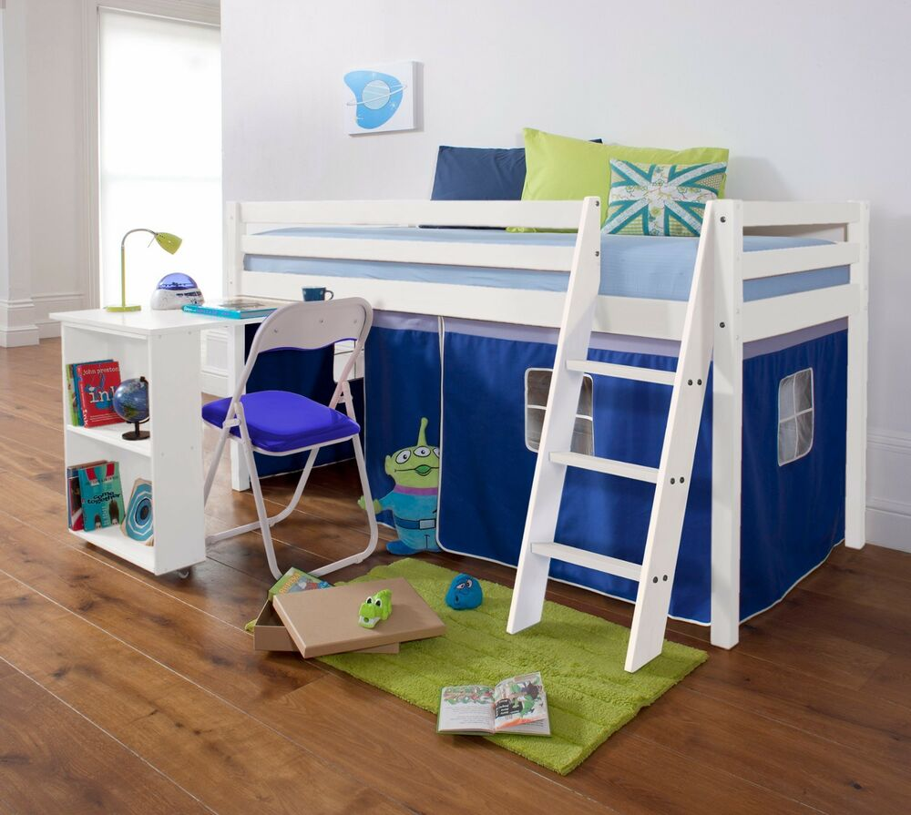 Cabin Bed Mid Sleeper Wooden Pine with Desk and Mattress ...