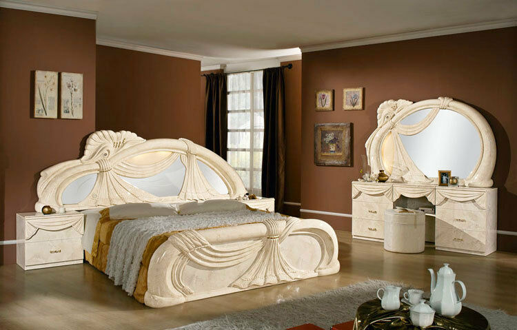 komplett schlafzimmer set klassische italienische stilm bel creme hochglanz top ebay. Black Bedroom Furniture Sets. Home Design Ideas