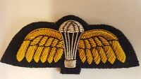 Parachute Regiment Wings. Mess Dress Gold Wire on Black. Hand Embroidered
