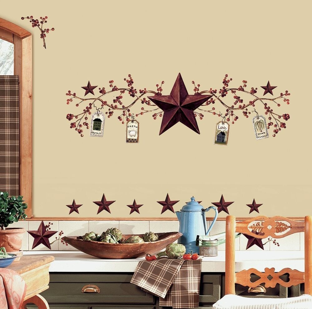 Country stars 40 big wall stickers rustic berry vine room for 40s room decor