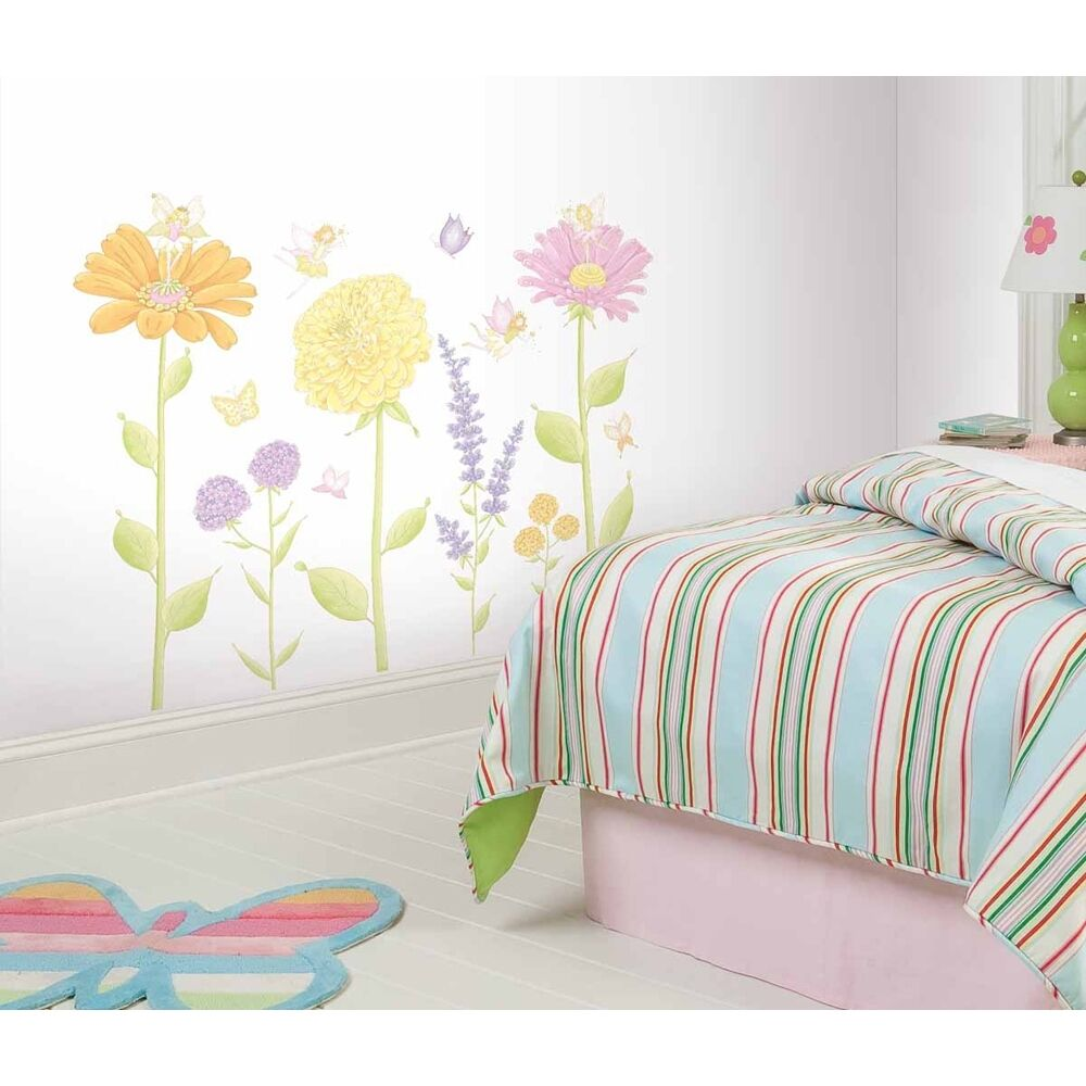 Fairies flowers wall decals baby girls fairy nursery for Girls murals