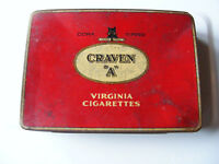"Carreras  Craven  ""A""  Virginia  Cigarette  Red  Tin  With  Black  Cat  On Front"